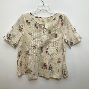 Anthropologie Maeve Peasant Top, Novelty Print
